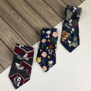 Vintage Peanuts Snoopy 3 Piece Tie Bundle Career B